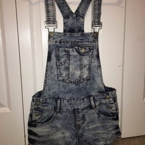 Blue Spice Short Jean Overalls Juniors Size 7